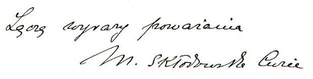 Marie Curie Handwriting